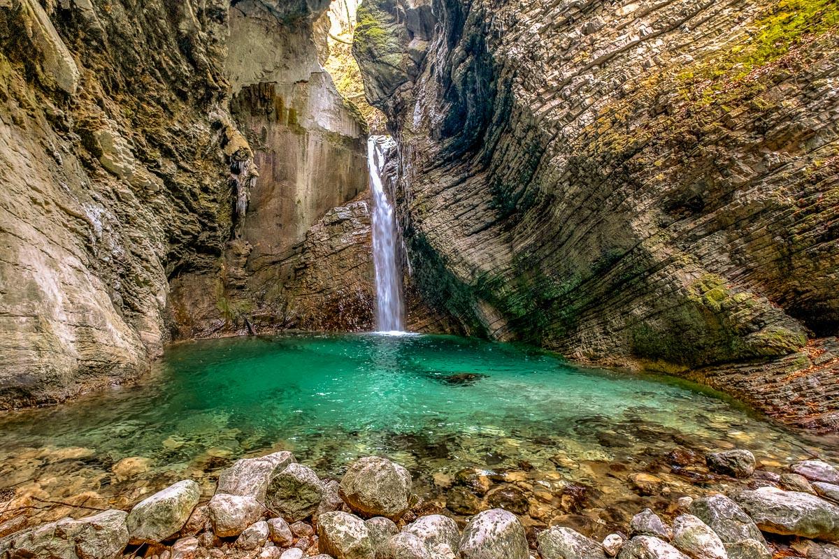 Wasserfall im Soca Tal